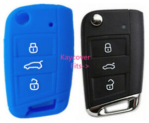 Blue Silicone Car Flip Key Cover For Vw Volkswagen Mk7 Golf