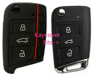 Black Half For Vw Volkswagen Silicone Car Flip Key Cover For Mk7 Golf