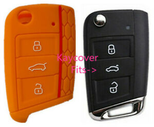 Orange Half Silicone Car Flip Key Cover For Vw Volkswagen Mk7 Golf