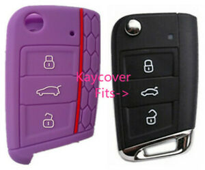 Purple Half Silicone Car Flip Key Cover For Vw Volkswagen Mk7 Golf