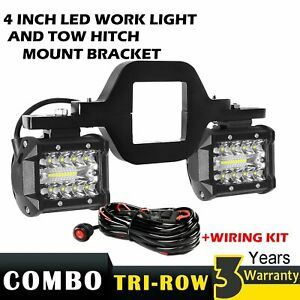 4 Led Pods W Backup Reverse Tow Hitch Brackets For Offroad 4x4 Truck Suv Wire