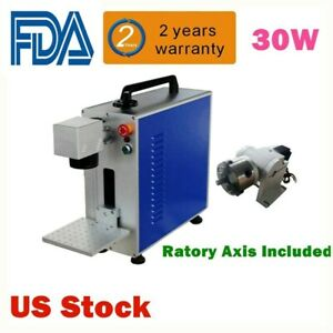 30w Fiber Laser Marking Engraving Machine Ratory Axis Include usa