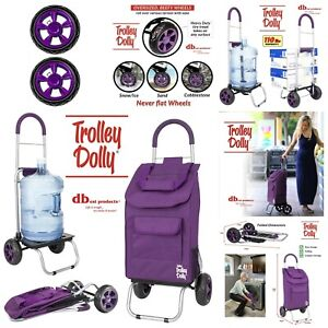 Foldable Shopping Trolley Bag With 7 Compartments Collapsible Up To 110lb Purple