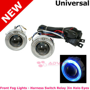 Universal Blue Halo Projector Fog Lights Pair Set Left Right Foglamps