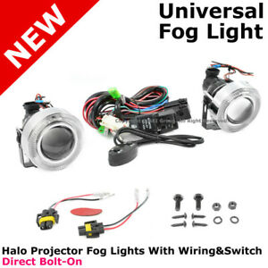 Universal White Halo Projector Fog Lights Pair Set Left Right Foglamps