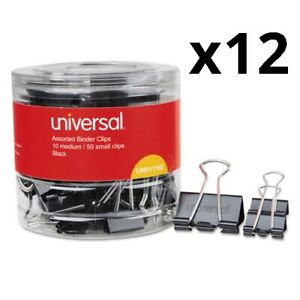 Binder Clips In Dispenser Tub Assorted Sizes Black silver 60 pack Pack Of 12