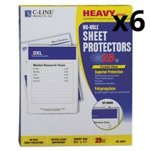 6 Top load No hole Sheet Protectors Heavyweight Clear 2 Capacity 25 bx