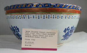 Antique 18thc Large Chinese Porcelain Bowl Cobalt Blue Flowers Gold Gilt