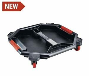 Tool Creeper Tray With Magnetic Strip Built In 3 Handles 4 Swivel Wheels Black