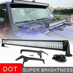 50 Led Light Bar Off Road With Roof Brackets For Jeep Wrangler Jl 2018 2019 52