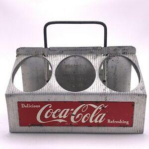 COCA COLA Aluminum CARRIER Old 6 Metal ADVERTISING Bottle CADDIE 1950's Vintage