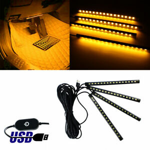 Universal Amber Usb 12 led Car Ambient Interior Decoration Styling Light Strips