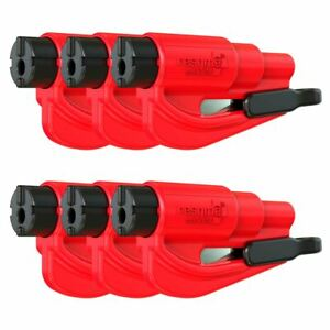 Resqme Car Escape Tool Red 6 Pack Seatbelt Cutter Window Breaker