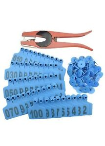 1 100 Number Plastic Livestock Blue Cow Cattle Ear Tag Animal And Pcs Applicator