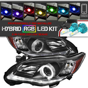 multi color Led Low Beam For Toyota Corolla 11 13 Black Halo Headlighs Signal