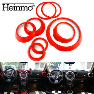 8pcs Car Interior Rings Cover Trim Decoration Red For Mini Cooper Countryman R60