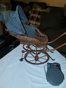 Antique Pram Vintage Baby Doll Carriage Stroller Buggy Canvas Wicker Nice