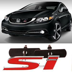 3d Metal Si Sport Red Front Grill Grille Emblem Badge For Honda Civic Decoration