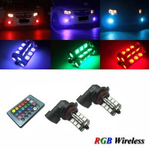 2x 7 Color Rgb 9005 9006 Hb3 Led Bulb For Fog Lamp Driving Lights Remote Control