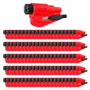 Resqme Car Escape Tool Red 100 Pack Seatbelt Cutter Window Breaker