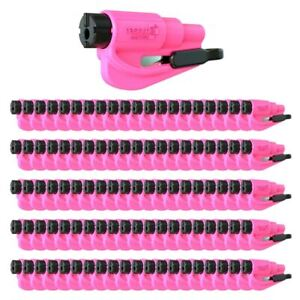 Resqme Car Escape Tool Pink 100 Pack Seatbelt Cutter Window Breaker