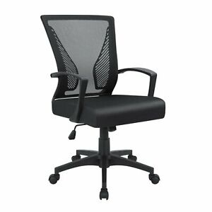 Office Chair Mid Back Swivel Lumbar Support Desk Chair Mesh Chair With Armrest