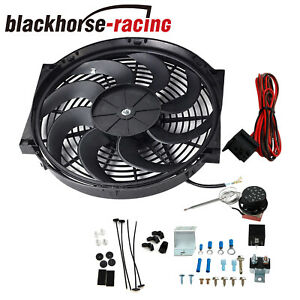 14 Inch Electric Radiator Engine Fan Adjustable Fin Probe Thermostat Switch Kit