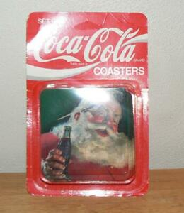 Vintage Coca-Cola Coasters Set of 6 Santa Claus Coke Plastic and Cork