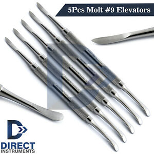 5 Pieces Dental Molt 9 Periosteal Elevators Implant Surgical Gingival Tissues