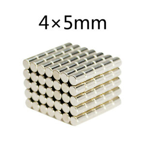 25 100pcs 4x5mm N52 Round Cylinder Strong Blocks Rare Earth Neodymium Magnet Us
