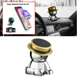 360 Magnetic Gold Phone Mount Stand Holder Car Dashboard Accessories Decor