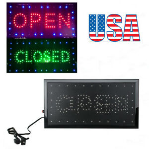 2in 1 Open Closed Led Sign Store Shop Display Neon Light 9 8 20 47 Newest