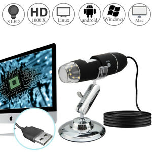 10x 1000x 8 Led Digital Microscope Camera Handheld Usb Magnification Endoscope