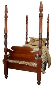Vintage American Empire Mahogany Twin Full Four Poster Bed