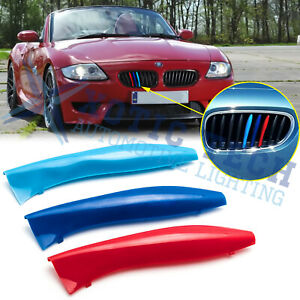 M Color Front Kidney Grill Grille Cover Clip Trims For Bmw E85 E86 Z4 2002 2008