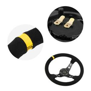 14inch 6 bolts Auto Car Racing Steering Wheel With Horn Yellow Universal