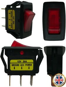 4 Red Light Illuminated On Off Rocker Switches 12v 20a Spst Car Boat