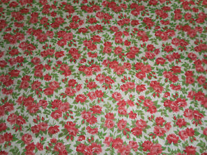 Antique Vintage Small Scale Roses Cotton Fabric Red Pink Green Dolls Blouse