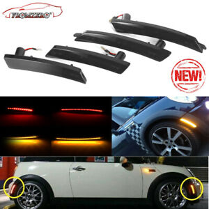 4pcs set For Mini Cooper 2007 13 14 Smoked Amber red Full Led Side Marker Lights