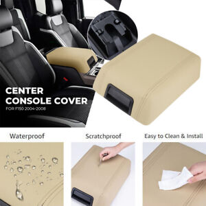 Center Console Arm Rest Lid Cover Pad Beige Leather For 2004 2008 Ford F 150