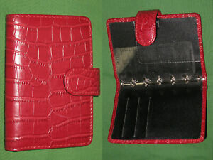 Mini 0 5 Red Faux Reptile Leather Unbranded Planner Binder Organizer Filofax