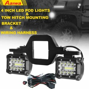 Tow Hitch Mounting Bracket W 4 Tri row Led Work Light Combo Pods wiring Kit