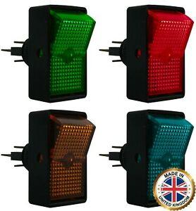 4 Piece Heavy Duty Red Green Blue Amber Illuminated On Off Rocker Switch 12v Kit