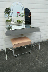 Mid Century Modern Lucite Makeup Vanity Table Desk Lighted Mirror And Stool 9985