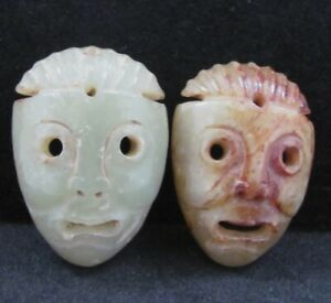 2x China Old Nephrite Hand Carved Mask Statue Hetian Jade Pendant