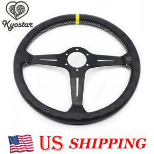 Black Steering Wheel Deep Corn Perforated Leather 380mm Classic Wheel Universal
