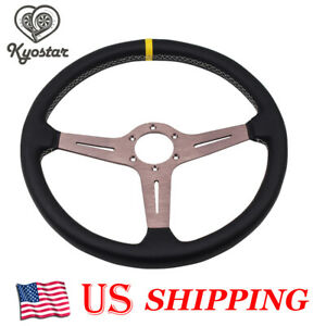 15inch Titanium Chrome Steering Wheel Deep Corn Perforated Leather Classic 380mm