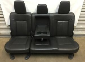 1999 2016 Ford F250 F350 Super Duty Rear Seat Black Leather 60 40 Nice