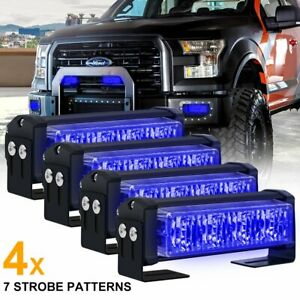 4pcs 20w Blue Led Emergency Warning Strobe Lights Bars For Deck Dash Grill 5inch