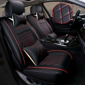 Front Rear Pu Leather Red 5 Seats Suv Full Car Seat Cover Cushion Set Universal